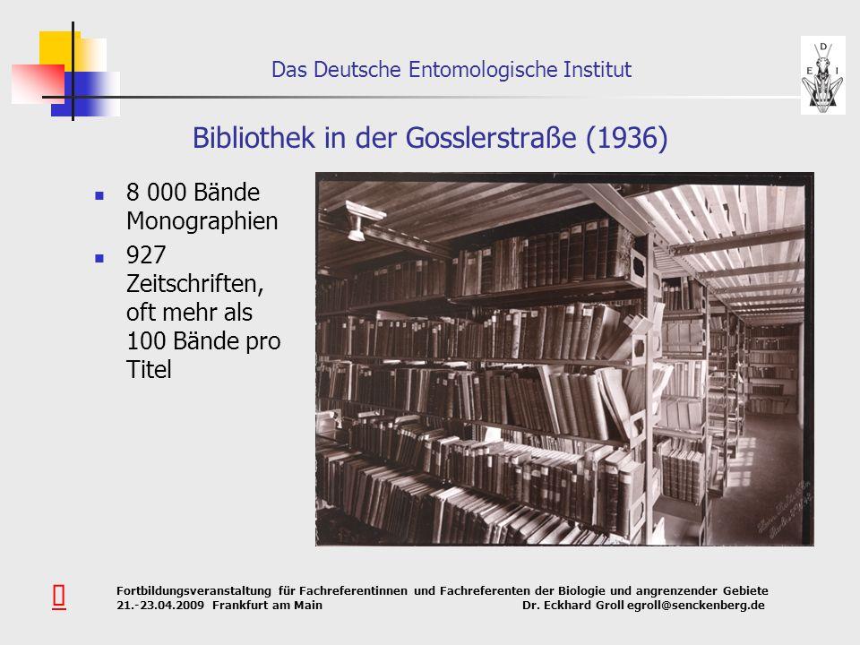 Das Deutsche Entomologische Institut Fortbildungsveranstaltung für Fachreferentinnen und Fachreferenten der Biologie und angrenzender Gebiete 21.-23.0
