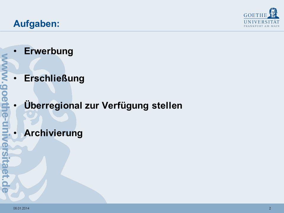 206.01.2014 Aufgaben: Erwerbung Erschließung Überregional zur Verfügung stellen Archivierung