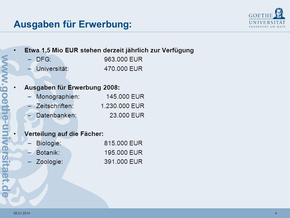 406.01.2014 Ausgaben für Erwerbung: Etwa 1,5 Mio EUR stehen derzeit jährlich zur Verfügung –DFG: 963.000 EUR –Universität: 470.000 EUR Ausgaben für Erwerbung 2008: –Monographien: 145.000 EUR –Zeitschriften:1.230.000 EUR –Datenbanken: 23.000 EUR Verteilung auf die Fächer: –Biologie: 815.000 EUR –Botanik: 195.000 EUR –Zoologie: 391.000 EUR