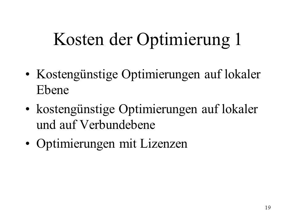 19 Kosten der Optimierung 1 Kostengünstige Optimierungen auf lokaler Ebene kostengünstige Optimierungen auf lokaler und auf Verbundebene Optimierungen mit Lizenzen