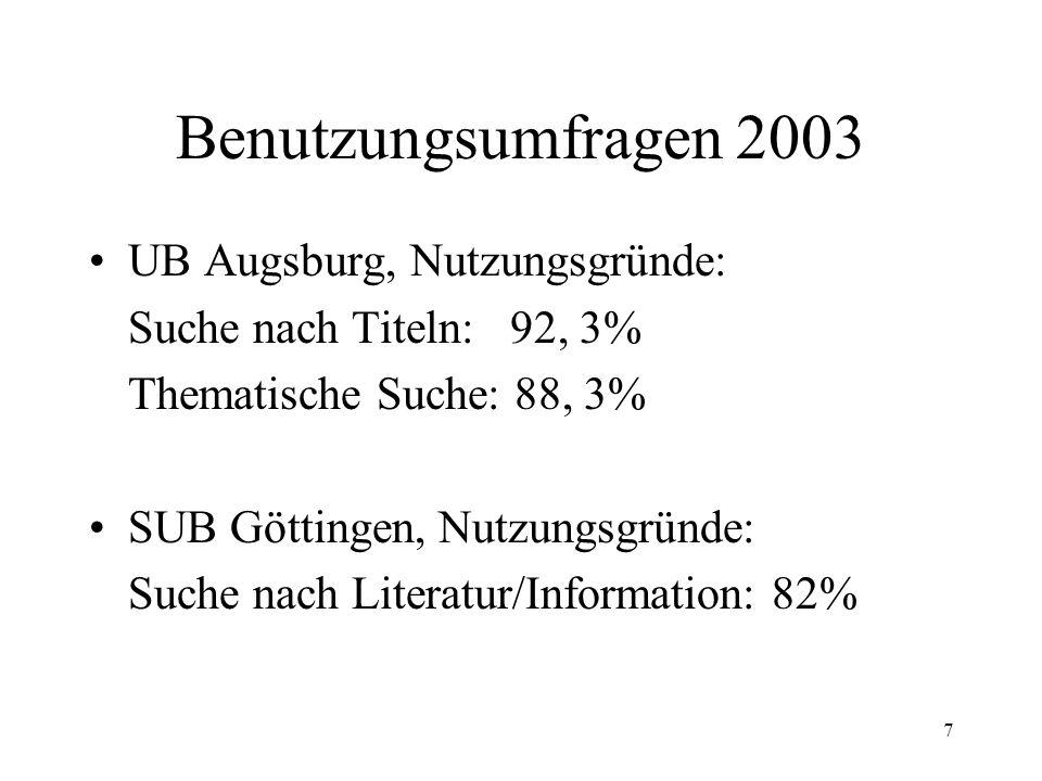 7 Benutzungsumfragen 2003 UB Augsburg, Nutzungsgründe: Suche nach Titeln: 92, 3% Thematische Suche: 88, 3% SUB Göttingen, Nutzungsgründe: Suche nach Literatur/Information: 82%