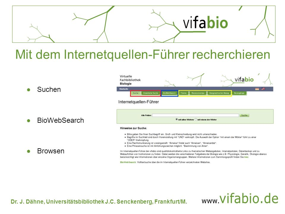 Dr. J. Dähne, Universitätsbibliothek J.C. Senckenberg, Frankfurt/M. Mit dem Internetquellen-Führer recherchieren Suchen BioWebSearch Browsen