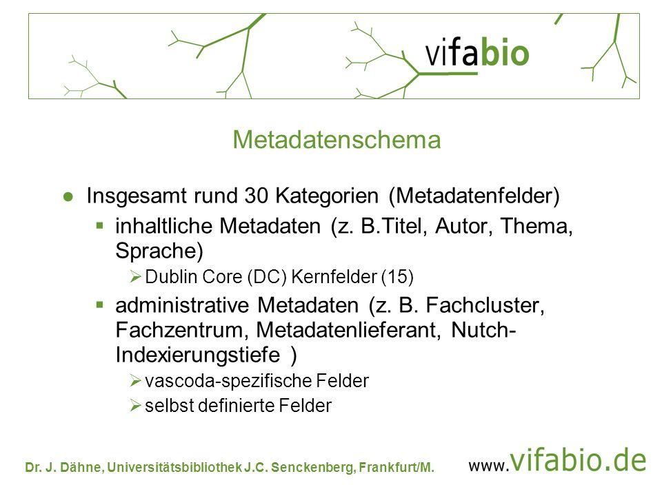 Dr. J. Dähne, Universitätsbibliothek J.C. Senckenberg, Frankfurt/M. Metadatenschema Insgesamt rund 30 Kategorien (Metadatenfelder) inhaltliche Metadat
