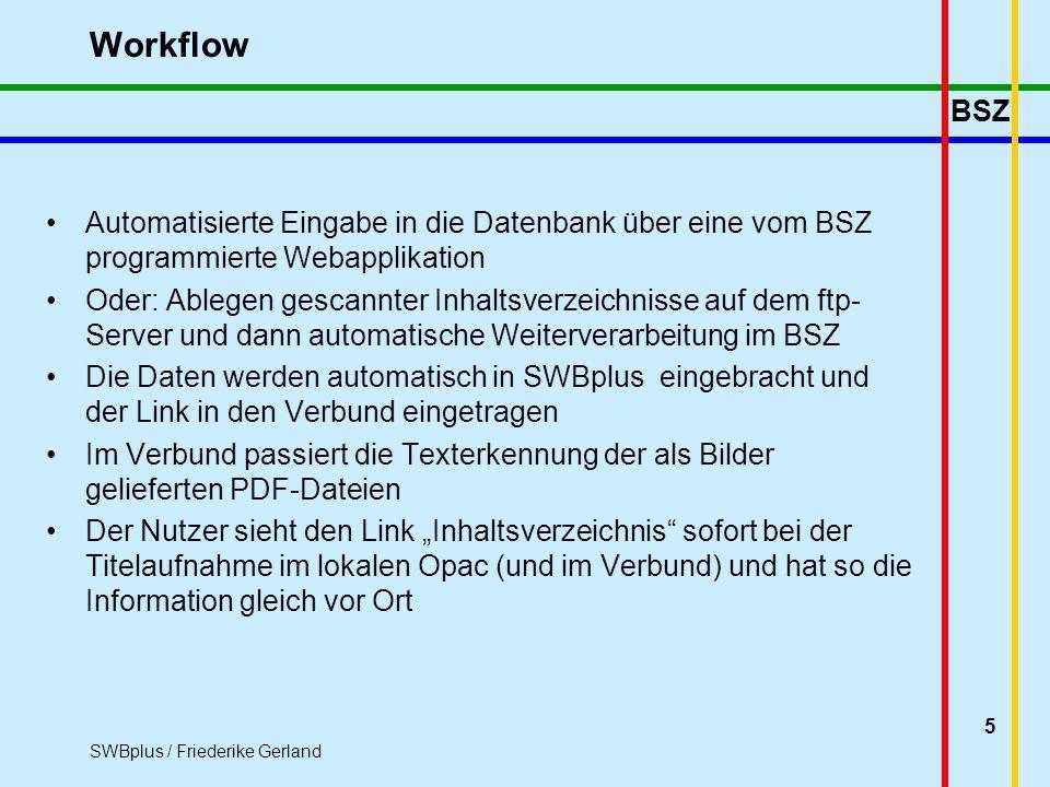 BSZ SWBplus / Friederike Gerland 5 Workflow Automatisierte Eingabe in die Datenbank über eine vom BSZ programmierte Webapplikation Oder: Ablegen gescannter Inhaltsverzeichnisse auf dem ftp- Server und dann automatische Weiterverarbeitung im BSZ Die Daten werden automatisch in SWBplus eingebracht und der Link in den Verbund eingetragen Im Verbund passiert die Texterkennung der als Bilder gelieferten PDF-Dateien Der Nutzer sieht den Link Inhaltsverzeichnis sofort bei der Titelaufnahme im lokalen Opac (und im Verbund) und hat so die Information gleich vor Ort