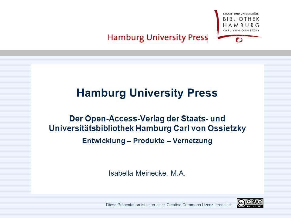 Geschichte - begründet im Frühjahr 2002 als Projekt der Universität Hamburg, verstetigt an der Staats- und Universitäts- bibliothek zum 1.