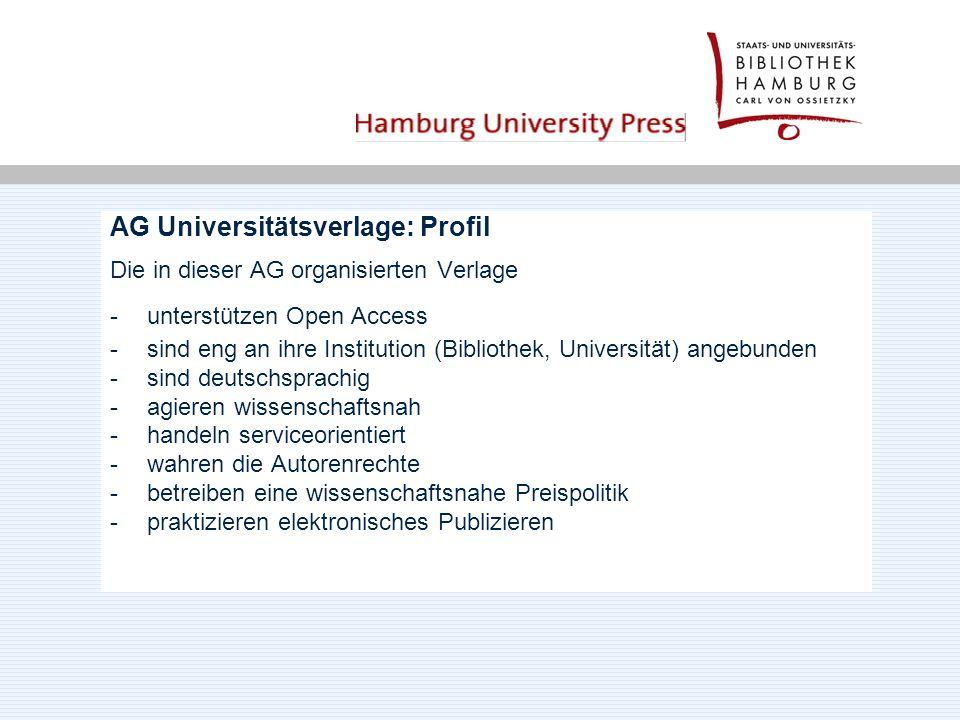 AG Universitätsverlage: Profil Die in dieser AG organisierten Verlage -unterstützen Open Access -sind eng an ihre Institution (Bibliothek, Universität) angebunden -sind deutschsprachig -agieren wissenschaftsnah -handeln serviceorientiert -wahren die Autorenrechte -betreiben eine wissenschaftsnahe Preispolitik -praktizieren elektronisches Publizieren