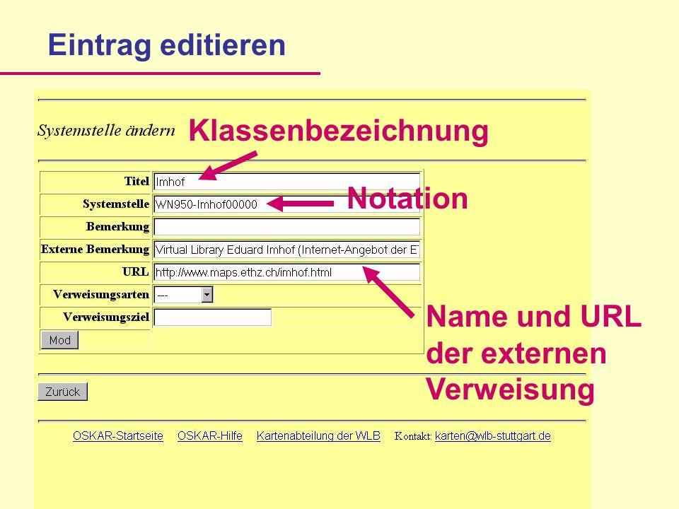 Notation Name und URL der externen Verweisung Eintrag editieren Klassenbezeichnung