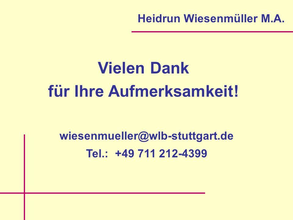 Vielen Dank für Ihre Aufmerksamkeit. Heidrun Wiesenmüller M.A.