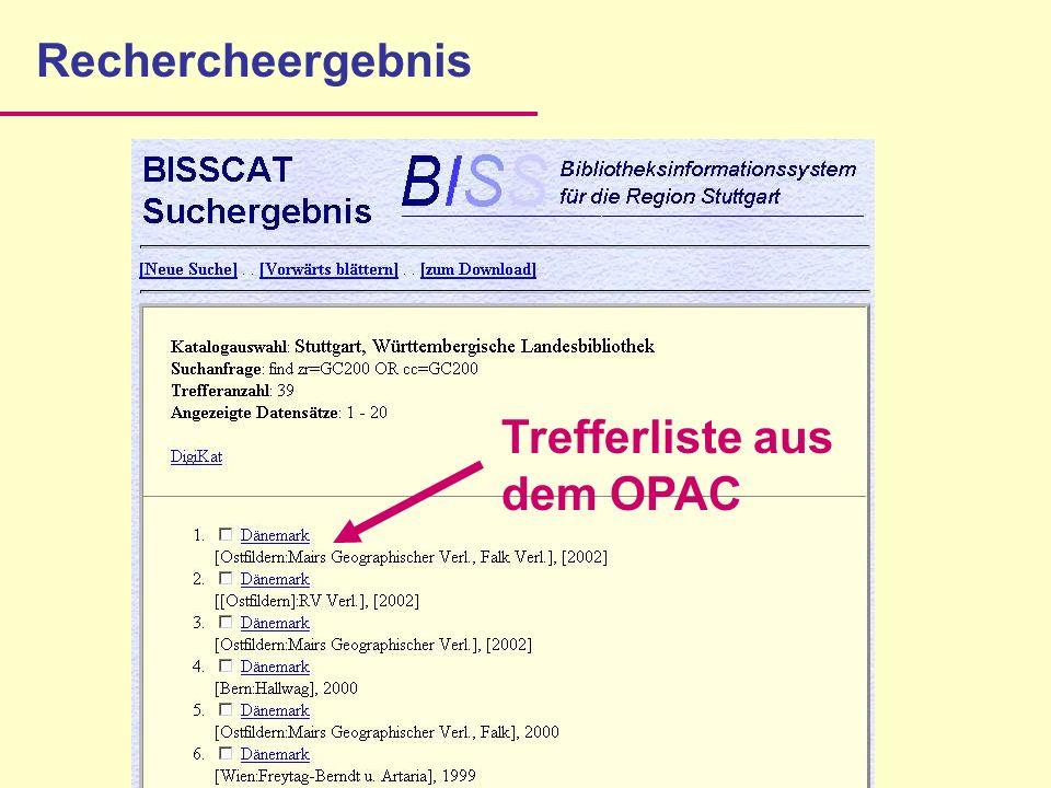 Rechercheergebnis Trefferliste aus dem OPAC