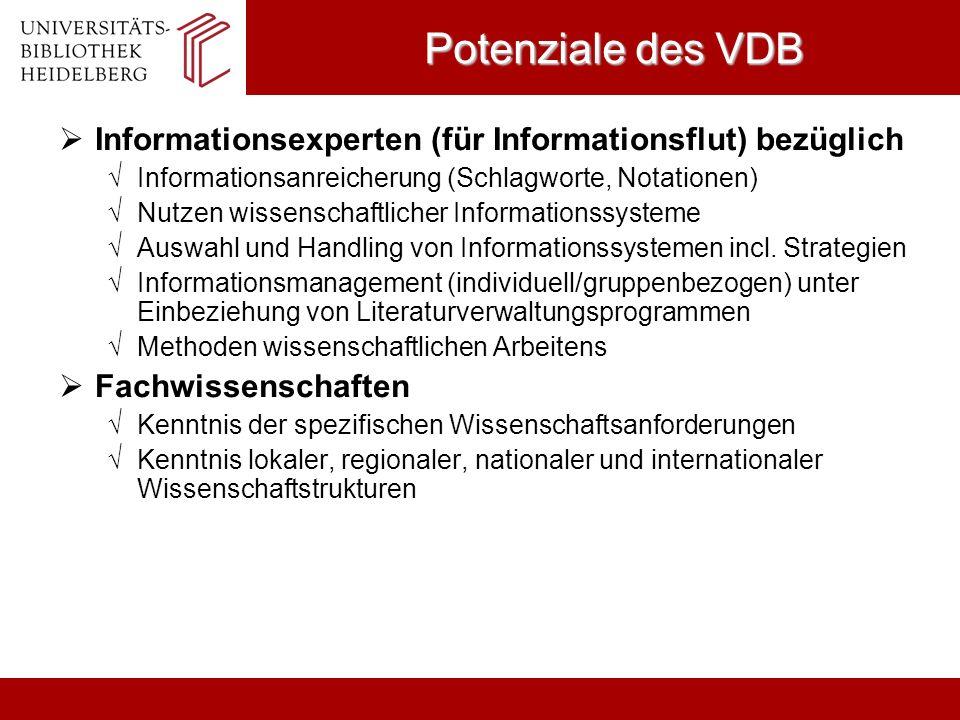 Potenziale des VDB Informationsexperten (für Informationsflut) bezüglich Informationsanreicherung (Schlagworte, Notationen) Nutzen wissenschaftlicher