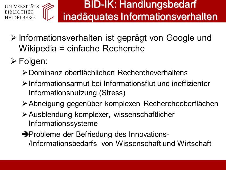 BID-IK: Handlungsbedarf inadäquates Informationsverhalten Informationsverhalten ist geprägt von Google und Wikipedia = einfache Recherche Folgen: Domi