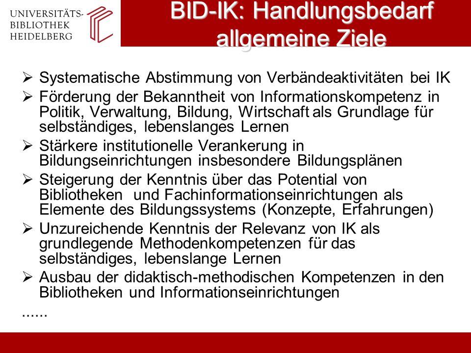 BID-IK: Handlungsbedarf allgemeine Ziele Systematische Abstimmung von Verbändeaktivitäten bei IK Förderung der Bekanntheit von Informationskompetenz i