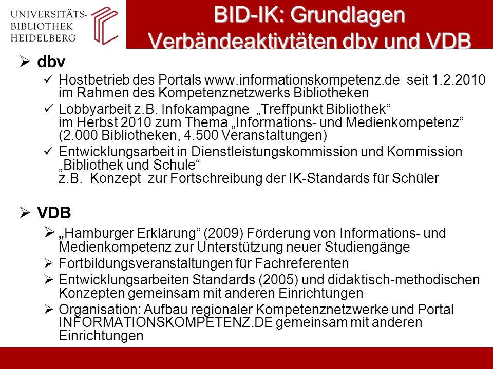 BID-IK: Grundlagen Verbändeaktivtäten dbv und VDB dbv Hostbetrieb des Portals www.informationskompetenz.de seit 1.2.2010 im Rahmen des Kompetenznetzwe