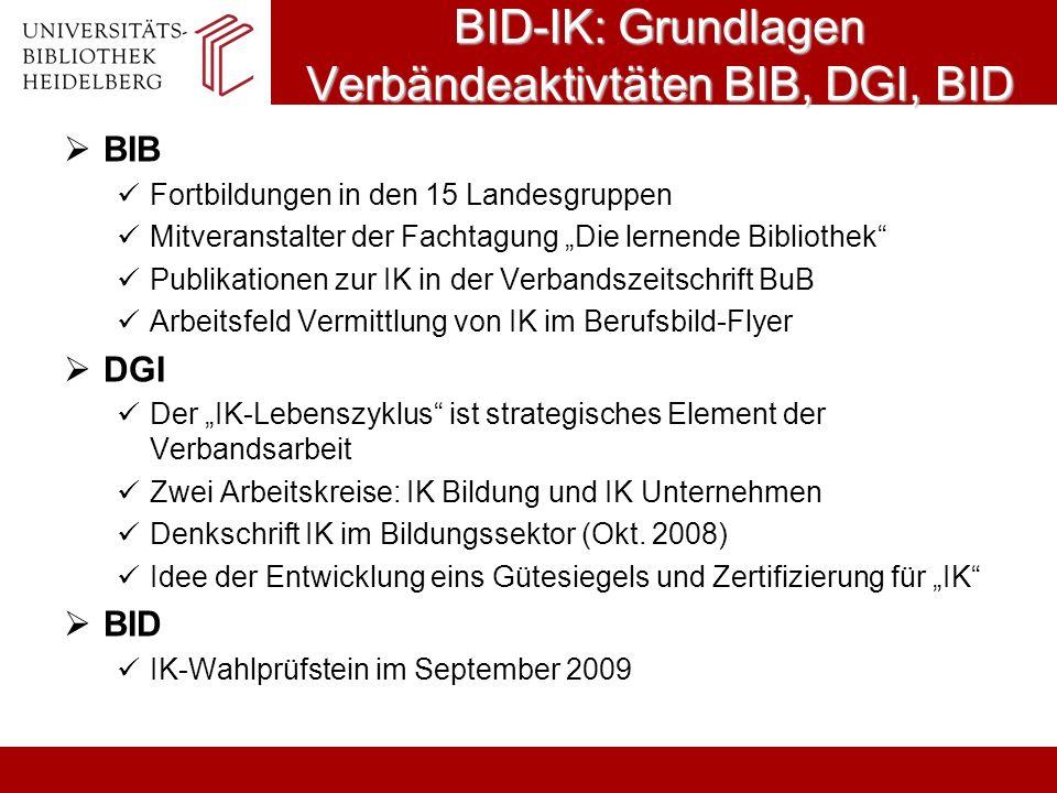BID-IK: Grundlagen Verbändeaktivtäten BIB, DGI, BID BIB Fortbildungen in den 15 Landesgruppen Mitveranstalter der Fachtagung Die lernende Bibliothek P
