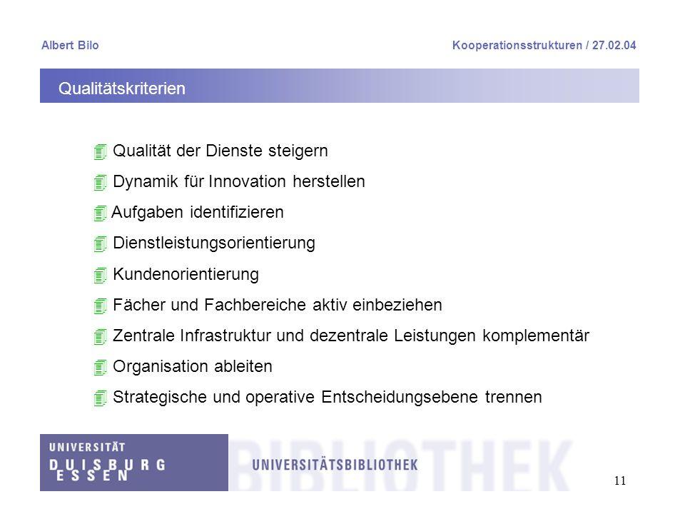 11 Albert BiloKooperationsstrukturen / 27.02.04 Qualitätskriterien 4 Qualität der Dienste steigern 4 Dynamik für Innovation herstellen 4 Aufgaben iden