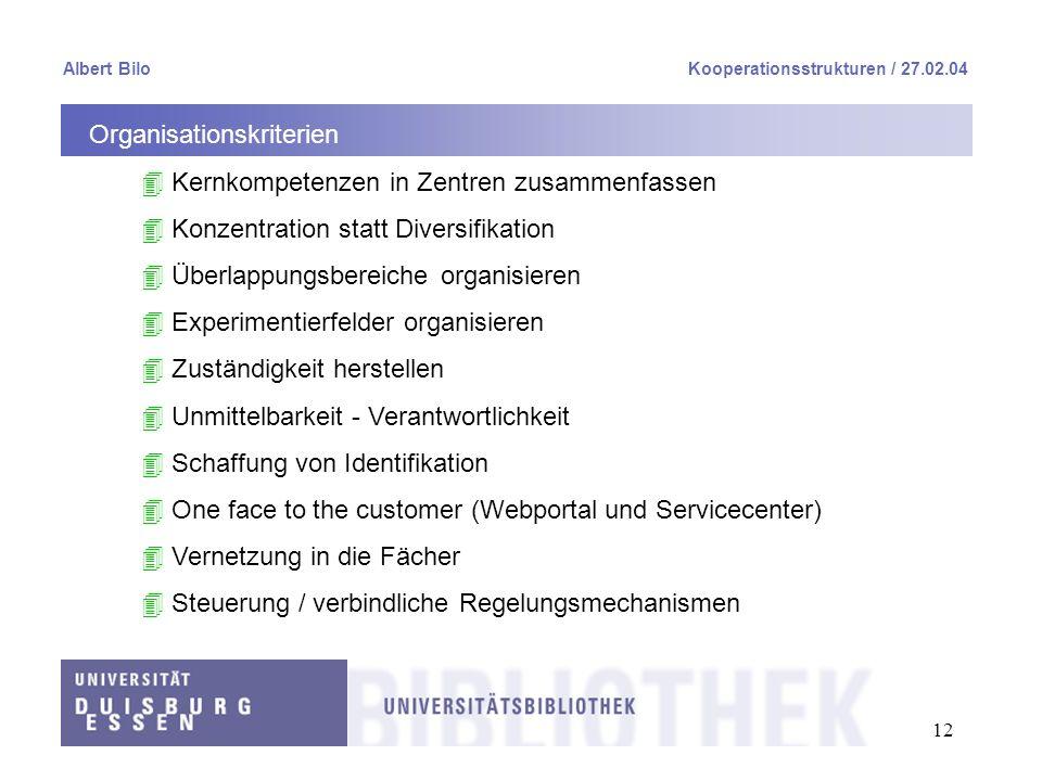12 Albert BiloKooperationsstrukturen / 27.02.04 Organisationskriterien 4 Kernkompetenzen in Zentren zusammenfassen 4 Konzentration statt Diversifikati