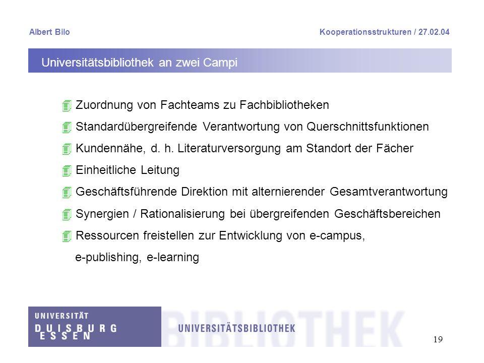 19 Albert BiloKooperationsstrukturen / 27.02.04 Universitätsbibliothek an zwei Campi 4 Zuordnung von Fachteams zu Fachbibliotheken 4 Standardübergreif