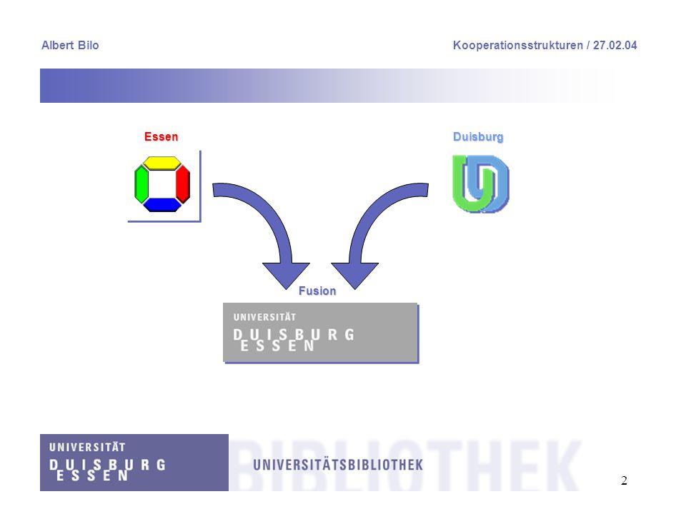 2 Albert BiloKooperationsstrukturen / 27.02.04 EssenDuisburg Fusion