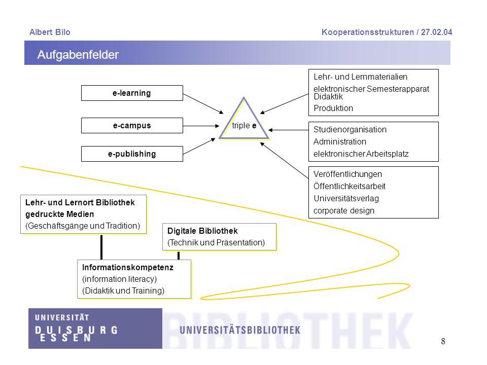 19 Albert BiloKooperationsstrukturen / 27.02.04 Universitätsbibliothek an zwei Campi 4 Zuordnung von Fachteams zu Fachbibliotheken 4 Standardübergreifende Verantwortung von Querschnittsfunktionen 4 Kundennähe, d.
