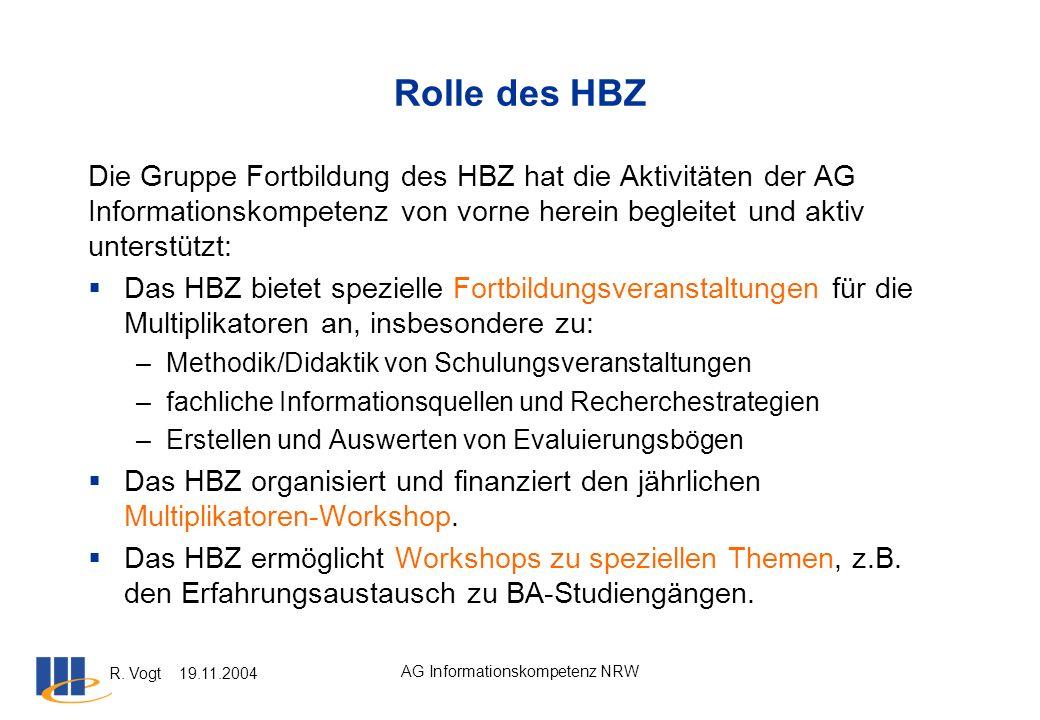 R. Vogt 19.11.2004 AG Informationskompetenz NRW Rolle des HBZ Die Gruppe Fortbildung des HBZ hat die Aktivitäten der AG Informationskompetenz von vorn