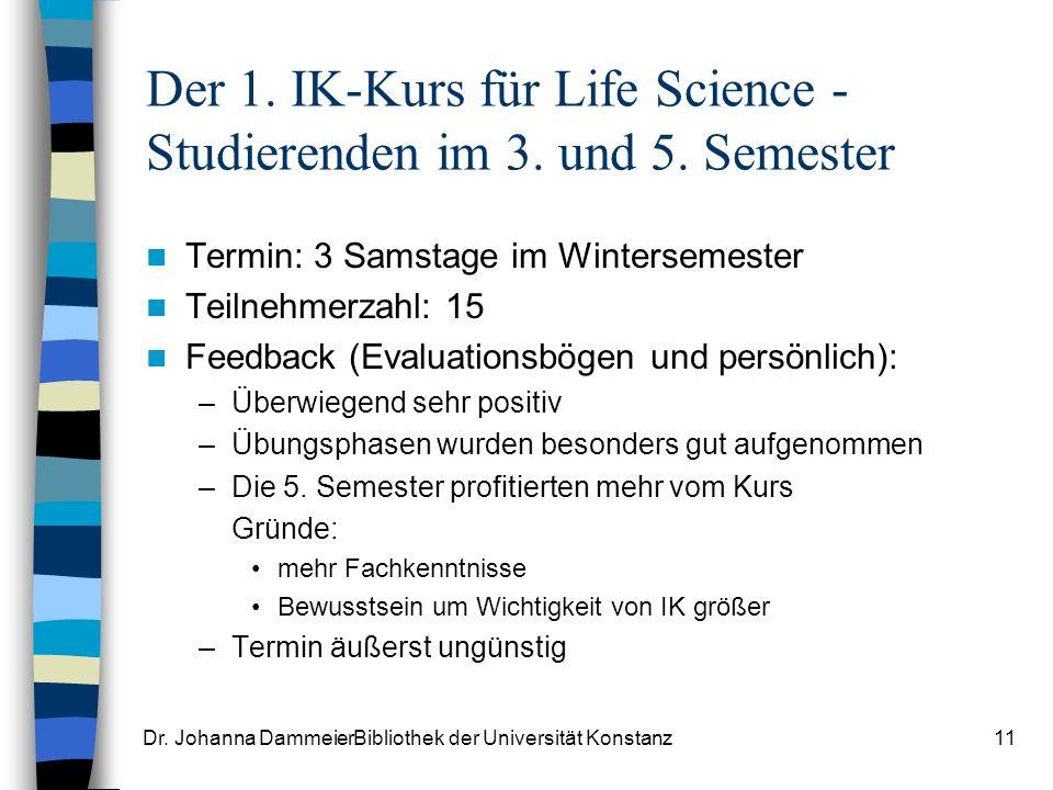 Dr.Johanna DammeierBibliothek der Universität Konstanz11 Der 1.