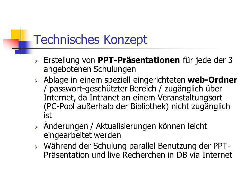 Technisches Konzept Erstellung von PPT-Präsentationen für jede der 3 angebotenen Schulungen Ablage in einem speziell eingerichteten web-Ordner / passw