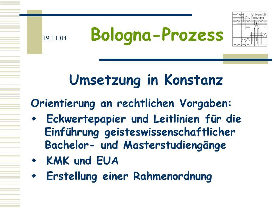 19.11.04 Bologna-Prozess Ziele Bachelor/Master-Studiengänge Modularisierung der Studieninhalte Leistungs-/Kreditpunkte-System Diploma-Supplement Qualitätssicherung (Akkreditierung und Evaluation) Förderung der Mobilität Strukturierte Doktorandenausbildung (3.