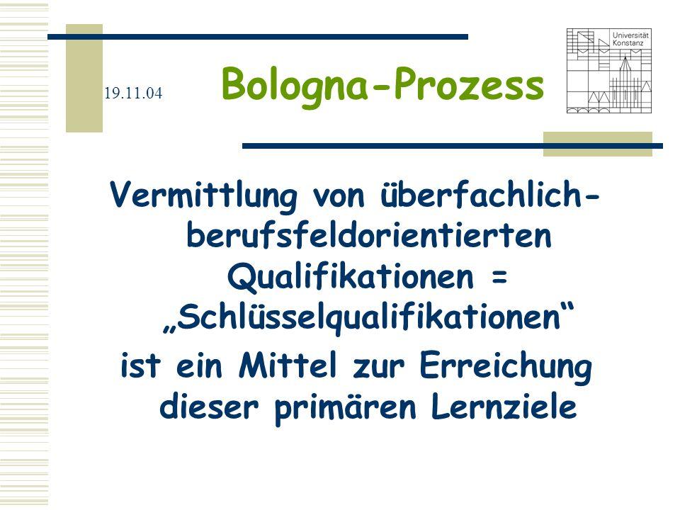 19.11.04 Bologna-Prozess Klare Definition von Schlüsselqualifikation existiert nicht Listungen: -Methodenkompetenz, -Systemkompetenz, -Synthesefähigkeit, -Wissen um Definitions- und Anwendungsgrenzen, -sprachliche und allgemeine intellektuelle Fähigkeiten, -Kreativität und Flexibilität in der Anwendung von Kenntnissen, Erfahrungen und Methoden, -Recherche- und Arbeitstechniken, etc.