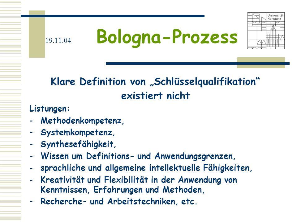 19.11.04 Bologna-Prozess Klare Definition von Schlüsselqualifikation existiert nicht Listungen: -Methodenkompetenz, -Systemkompetenz, -Synthesefähigke