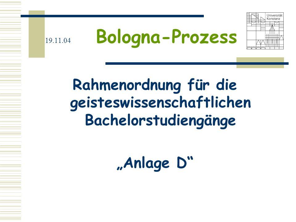 19.11.04 Bologna-Prozess ECTS Arbeitspensum/Workload-basiert 1.500 – 1.800 Stunden/Jahr 60 ECTS-Credits/Jahr 1 ECTS-Credit = 25-30 Stunden 3jähriger BA = 180 Credits
