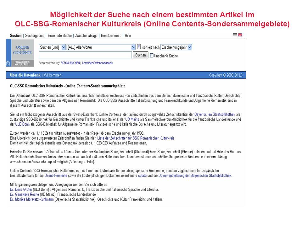 Möglichkeit der Suche nach einem bestimmten Artikel im OLC-SSG-Romanischer Kulturkreis (Online Contents-Sondersammelgebiete)