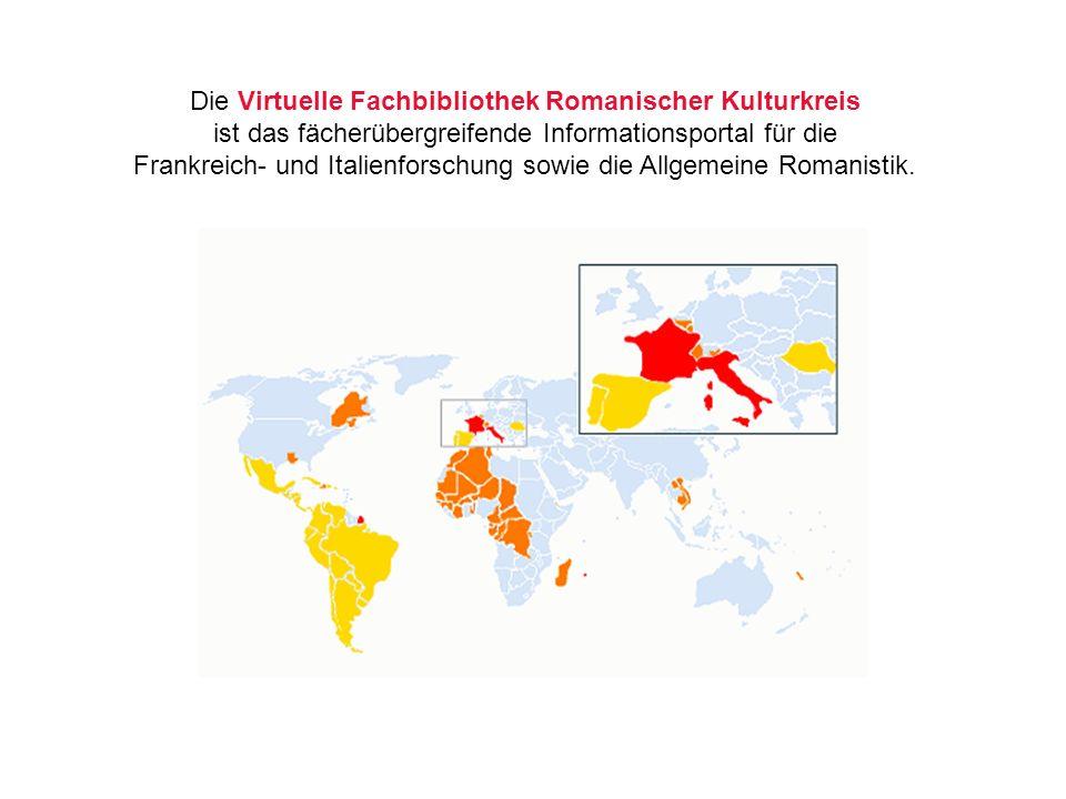 Die Virtuelle Fachbibliothek Romanischer Kulturkreis ist das fächerübergreifende Informationsportal für die Frankreich- und Italienforschung sowie die Allgemeine Romanistik.