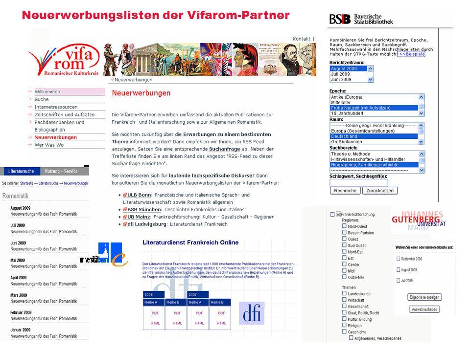 Neuerwerbungslisten der Vifarom-Partner