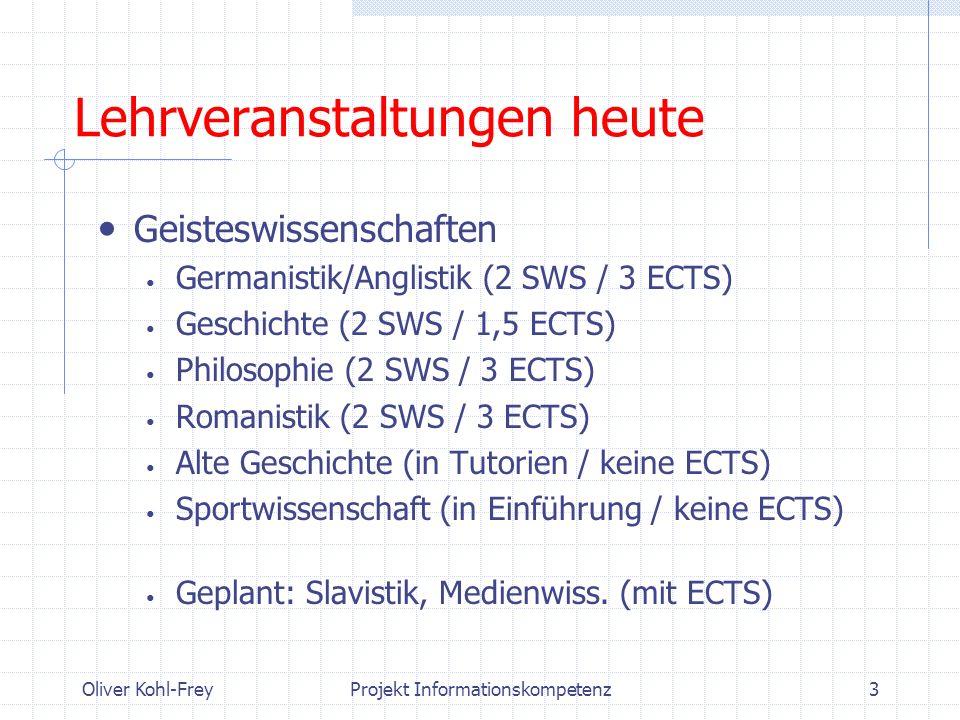 Oliver Kohl-FreyProjekt Informationskompetenz3 Lehrveranstaltungen heute Geisteswissenschaften Germanistik/Anglistik (2 SWS / 3 ECTS) Geschichte (2 SW