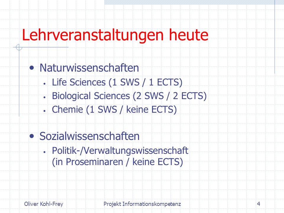 Oliver Kohl-FreyProjekt Informationskompetenz4 Lehrveranstaltungen heute Naturwissenschaften Life Sciences (1 SWS / 1 ECTS) Biological Sciences (2 SWS