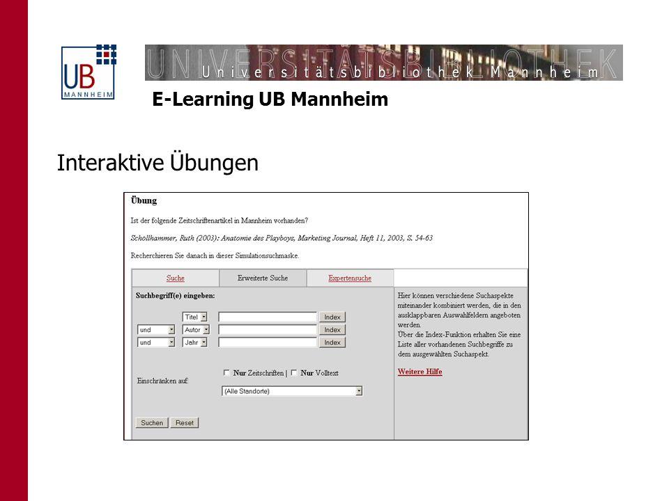 E-Learning UB Mannheim Interaktive Übungen