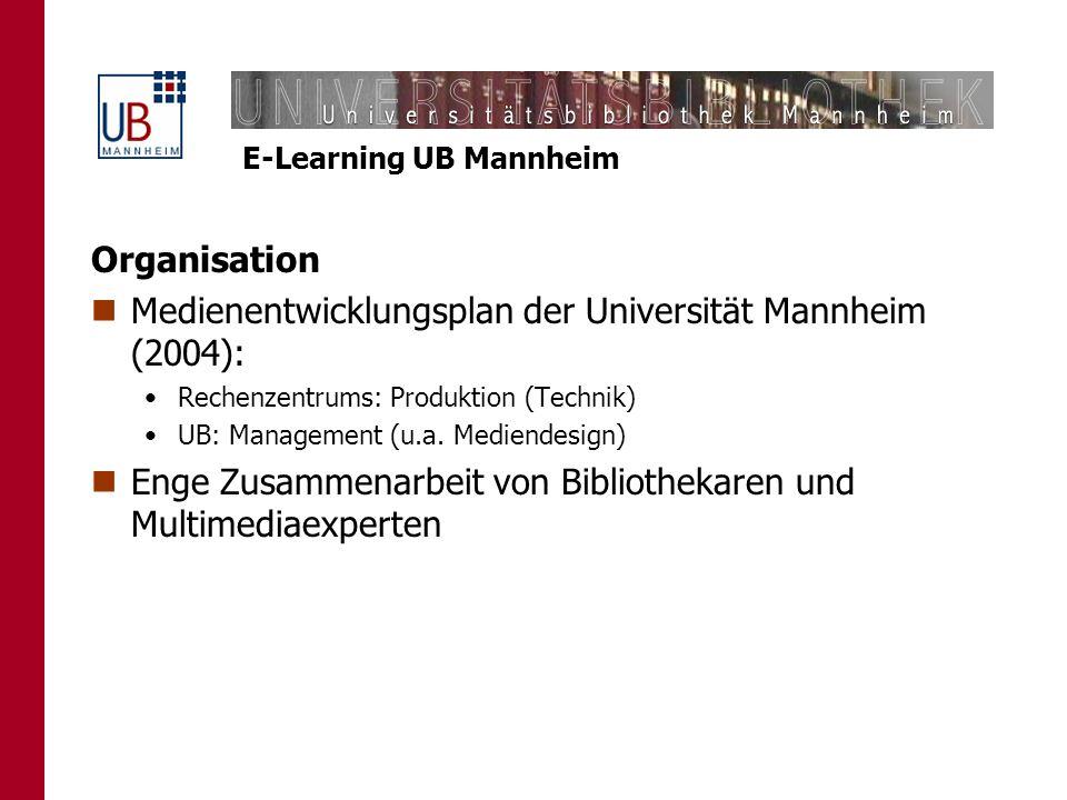 E-Learning UB Mannheim Organisation Medienentwicklungsplan der Universität Mannheim (2004): Rechenzentrums: Produktion (Technik) UB: Management (u.a.