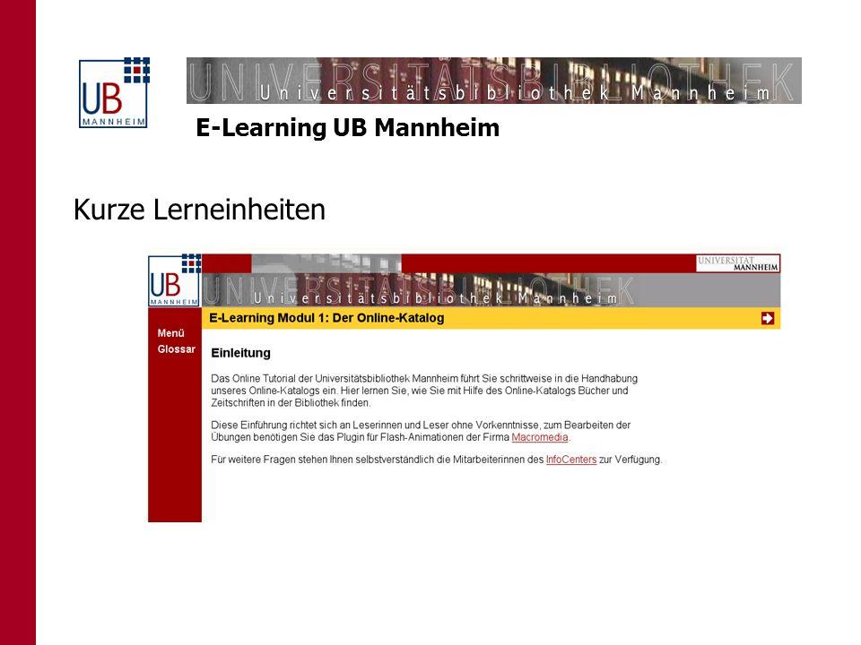 E-Learning UB Mannheim Kurze Lerneinheiten