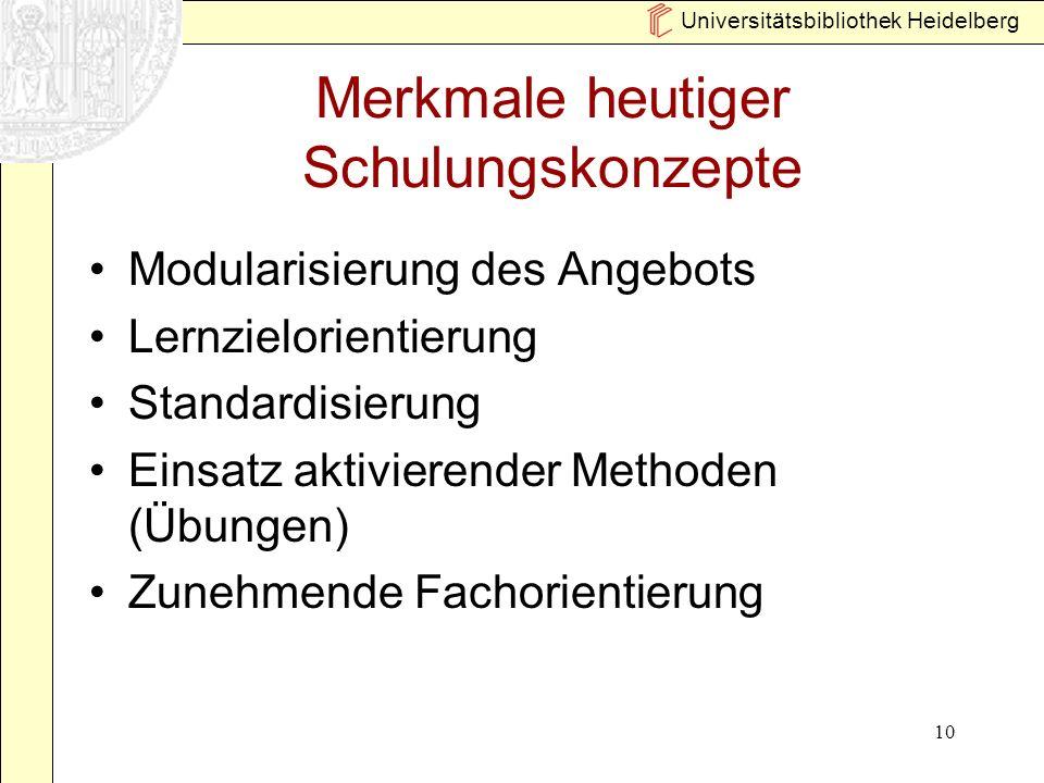 Universitätsbibliothek Heidelberg 10 Merkmale heutiger Schulungskonzepte Modularisierung des Angebots Lernzielorientierung Standardisierung Einsatz ak