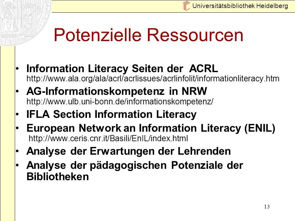 Universitätsbibliothek Heidelberg 13 Potenzielle Ressourcen Information Literacy Seiten der ACRL http://www.ala.org/ala/acrl/acrlissues/acrlinfolit/in