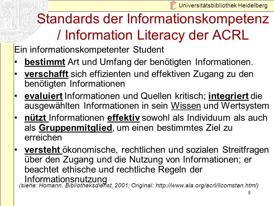 Universitätsbibliothek Heidelberg 8 Standards der Informationskompetenz / Information Literacy der ACRL Ein informationskompetenter Student bestimmt A