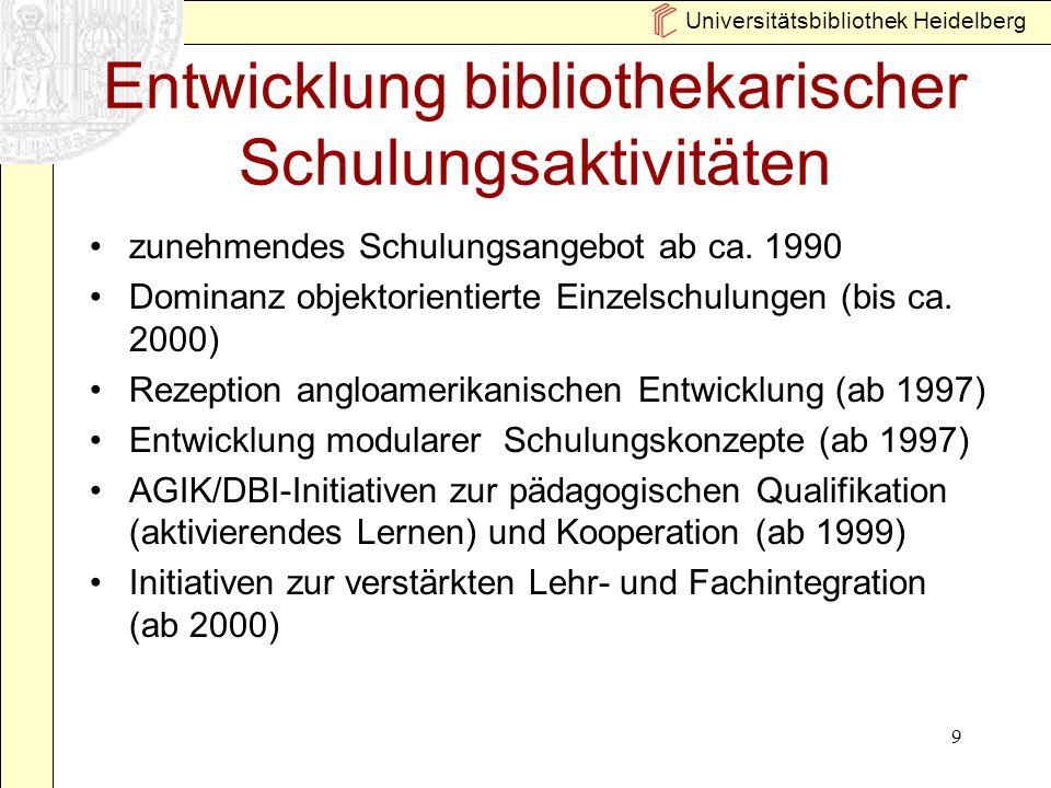 Universitätsbibliothek Heidelberg 10 Merkmale heutiger Schulungskonzepte Modularisierung des Angebots Lernzielorientierung Standardisierung Einsatz aktivierender Methoden (Übungen) Zunehmende Fachorientierung