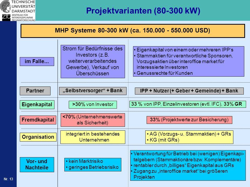 Nr. 13 Projektvarianten (80-300 kW) Partner Eigenkapital Fremdkapital Organisation Vor- und Nachteile im Falle... Selbstversorger + Bank IPP + Nutzer