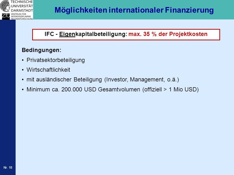 Nr. 18 Möglichkeiten internationaler Finanzierung IFC - Eigenkapitalbeteiligung: max. 35 % der Projektkosten Bedingungen: Privatsektorbeteiligung Wirt