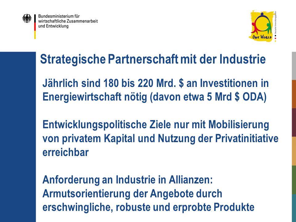 Strategische Partnerschaft mit der Industrie Jährlich sind 180 bis 220 Mrd. $ an Investitionen in Energiewirtschaft nötig (davon etwa 5 Mrd $ ODA) Ent