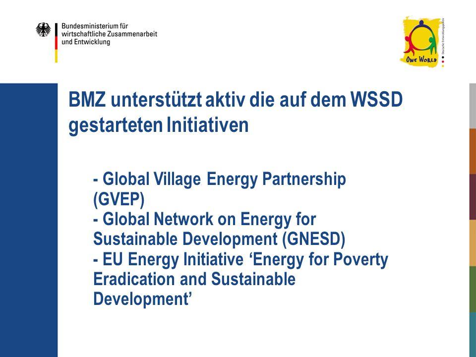 BMZ unterstützt aktiv die auf dem WSSD gestarteten Initiativen - Global Village Energy Partnership (GVEP) - Global Network on Energy for Sustainable D