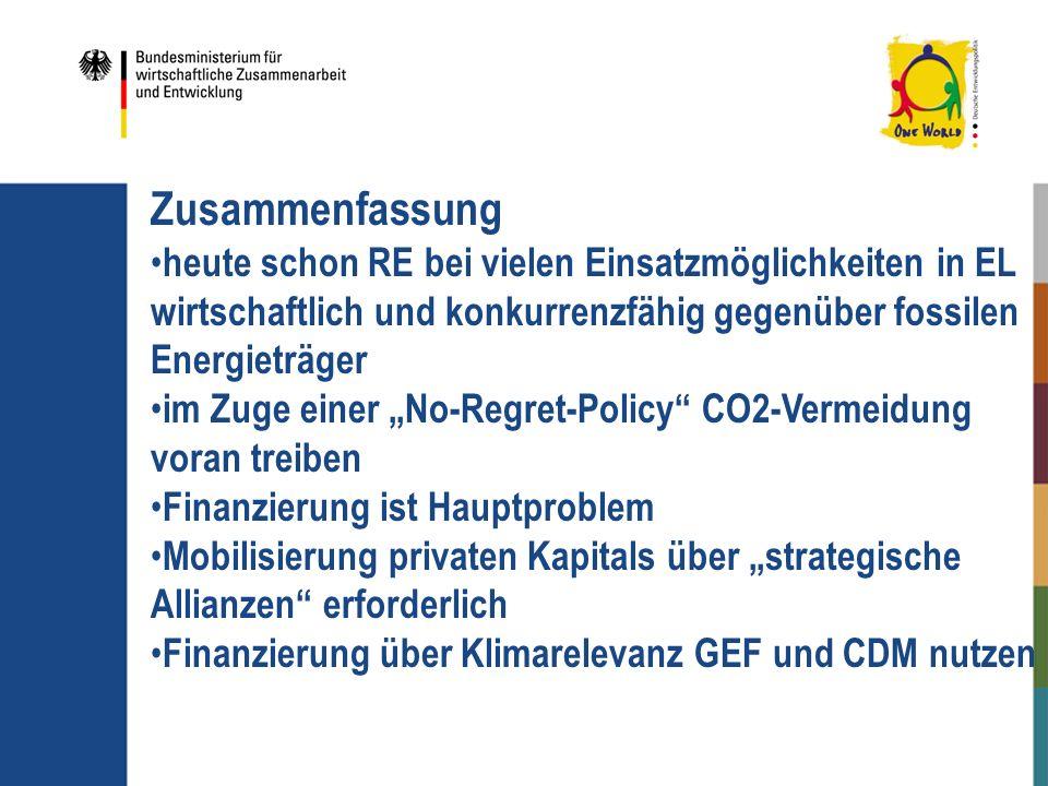 Zusammenfassung heute schon RE bei vielen Einsatzmöglichkeiten in EL wirtschaftlich und konkurrenzfähig gegenüber fossilen Energieträger im Zuge einer