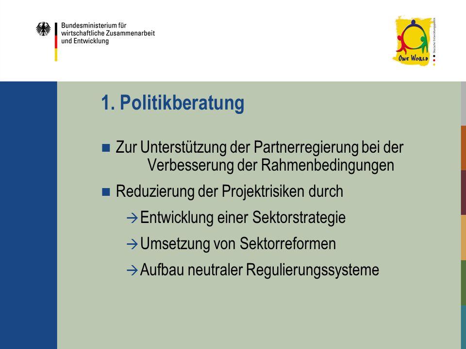 1. Politikberatung Zur Unterstützung der Partnerregierung bei der Verbesserung der Rahmenbedingungen Reduzierung der Projektrisiken durch Entwicklung