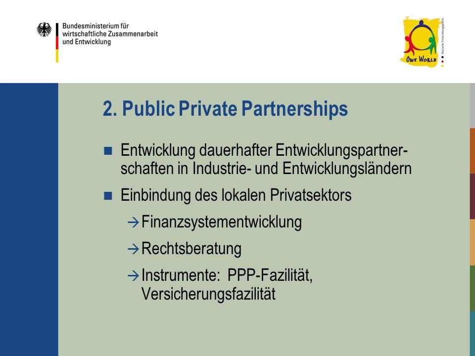 2. Public Private Partnerships Entwicklung dauerhafter Entwicklungspartner- schaften in Industrie- und Entwicklungsländern Einbindung des lokalen Priv