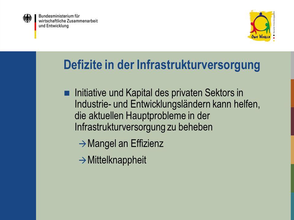 Defizite in der Infrastrukturversorgung Initiative und Kapital des privaten Sektors in Industrie- und Entwicklungsländern kann helfen, die aktuellen H